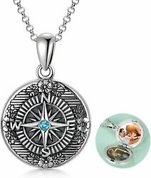 Graduation Gifts For Her Sterling Silver Compass Locket Necklace Holds Pictures