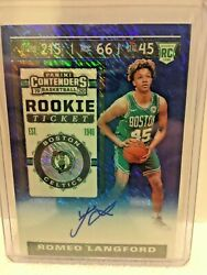 2019-20 Prizm Contenders Romeo Langford Rookie Ticket Blue Shimmer Auto 19/20