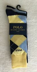Mens Dress Socks 3 Pair Packblue And Yellow 1 Argyle + 2 Solidnwt