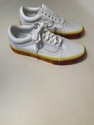 Vans Off The Wall White Yellow Orange Lace Up Shoes 500714 Men's 7 Women's 8.5