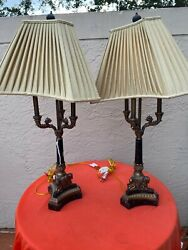 Pair Of Maitland Smith Marble And Bronze 3 Light Candelabra Lamps