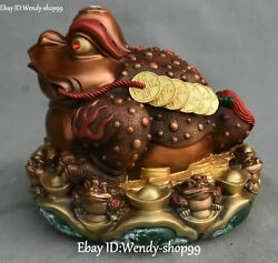 9 Pure Bronze Painting Golden Toad Spittor Wealth Money Coin Yuanbao Statue