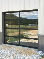 Full View [8' X 7'] Black Anodized Aluminum And Tempered Clear Glass Garage Door
