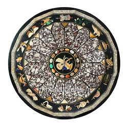48 Inches Marble Reception Table Top Inlay Dining Table With Multi Color Stones