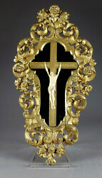 Antique Xl French Wood Carved 1800s Jansenist Crucifix Christ Church Religious