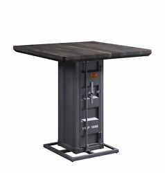 Acme Cargo Counter Height Table With Antique Walnut And Gunmetal Finish 77905