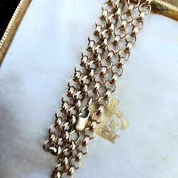 Solid 9ct, 9k, 375 Yellow Gold Belcher Link Chain, Necklace. Length 22.5, 57cm