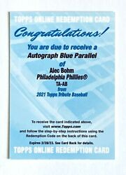 2021 Topps Tribute Baseball- Phillies-alec Bohm Rc- Auto Redemption- Blue- /150