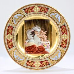 Best Quality Royal Vienna Porcelain Cabinet Plate W Beauty And Cupid Embrace - Pc