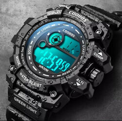 Cool Luminous Men Sport Watch High-end Silicone Strap Military Wrist Watch Led C