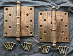 16 Avail Pair 4x4 Antique Vintage Old Stanley Brass Exterior Entry Door Hinges