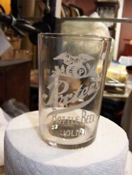 Bottled Beer Joliet Ill. Porters Brewing Co. Etched Glass Eagle Barrel 3 3/4 In