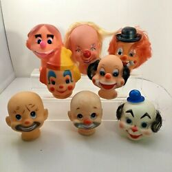 Lot Of Eight Vintage Plastic Rubber Doll Faces Heads Clowns Crafting Parts