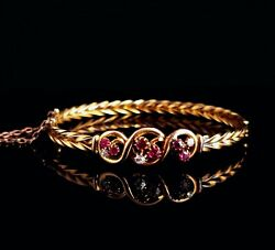 Antique Victorian 15ct Gold Ruby And Diamond Bangle, Trefoil