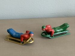 Antique Pre-ww2 Barclay Lead Figure Toy Sled Sleigh Ski Man On Sled Set Of Two