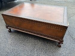 Leather Wrapped Wood Trunk Coffee Table Two Drawers Hollywood
