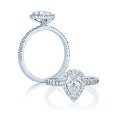 1.00 Ct Brilliant Real Pear Diamond 14k White Gold Engagement Ring Sizes 6 7 8 9
