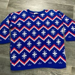 Turtle Bay Tribal Aztec Oversize Union Jack Red White Blue Long Baggy Sweater