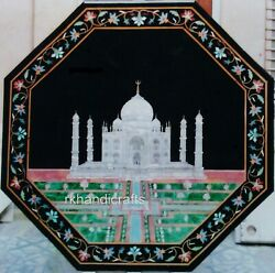 Taj Mahal Replica Inlaid Stone Dining Table Top Marble Reception Table 48 Inches