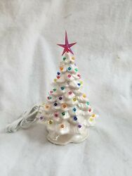 Small Ceramic Christmas Tree Made From A Vintage Mold Pearl White Pin Lights.usa