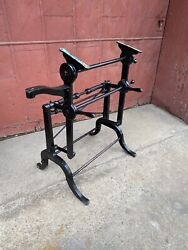 Antique Lm Drafting Table Industrial Cast Iron Cranking Desk Oh W/ Arm