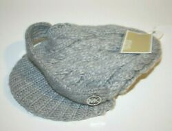 Cable Knit Cuff Beret Cap Hat Beanie Mk New Pearl Heather Gray Grey