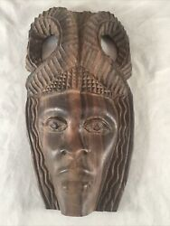 Vintage Antique Carved Wooden Portrait Mask African Asian Mahogany Rosewood