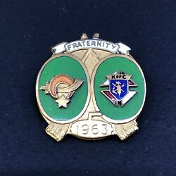 Vintage 1963 Enamel Fraternity Curling Pin Shriners And Knights Of Columbus