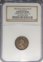 126/295 A Abraham Lincoln / Freedom Patriotic Civil War Token Ngc Xf40 Right Man