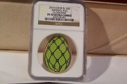2015 Cook Is. S5 Imperial Egg Silver/green Crystal Cloisonne Ngc Pf70 Rare