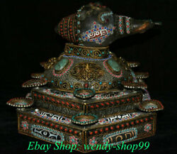 14 Rare Old Tibet Crystal Copper Gilt Inlay Turquoise Conch Shell Trumpet Horn