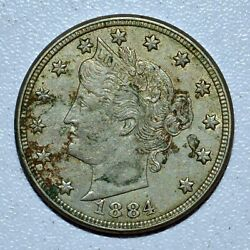 1884 Liberty V Nickel ✪ Au Almost Unc Details ✪ 5c L@@k Now Coin F510 ◢trusted◣