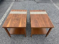 Mid Century Lane End Tables With Tile Pair