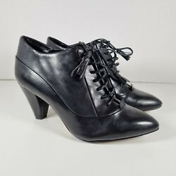 Clarks Black Leather Pointed Toe Victorian Style Lace Up Shoes Uk Size 4