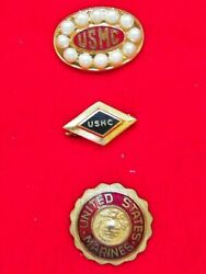 Wwii 3 U.s. Marine Corp. Sweetheart Pins- Sold As A Lot