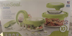 Anchor Hocking Trueseal Glass Food Storage Containers With Lids Green 10-piece