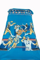 Vintage Sears Nfl Football Flat Bed Sheets Bunk Bed 106 X 60 Curtain 1970s-80s