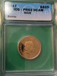 2017 Niue 25 1/4oz Gold Coin Disneyand039s Bambi Authenticated By Icg Pr 63 Dcam