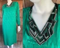 Vtg 80s S/m Green Silk Dress Cassis Christmas Beaded Silk Formal Cocktail Party