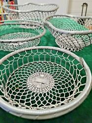 4 Vintage Woven Wire Oval Brass Baskets 2 With Handle From The India Collection