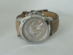 Menand039s Fossil Grant Round Chronograph Leather Strap Wristwatch Fs-5209
