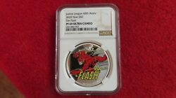 2020 Niue The Flash Justice League Anniversary Silver Coin 1 Oz .999 Ngc Pr69