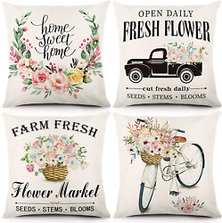 ZJHAI Spring Pillow Covers 18x18 Inches Set of 4 Farmhouse Pillow Covers Flower