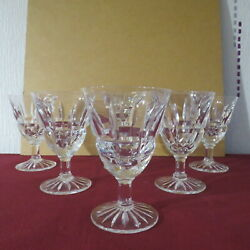 6 Glasses Wine White Or Porto Crystal Carved Daum Signed