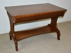 Antique Oak Library Table Carved Details Circa 1890's