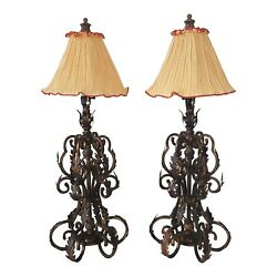 Wrought Iron Leaves Tall Table Lamps A Pair
