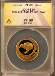 New Zealand 2009 10 Dollar 1/4 Oz Gold Kiwi Proof Coin Pf69dcam Anacs Scarce