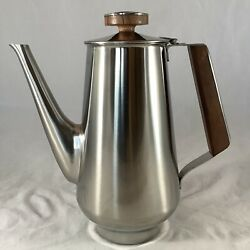 Vintage Mcm Rogers Insilco Stainless Coffee Pot Carafe Wooden Handle Knob Japan