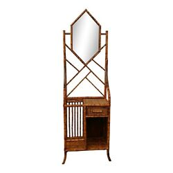 Burnt Scorched Bamboo Mirror Hall Shelf Etagere With One Drawer Chippendale