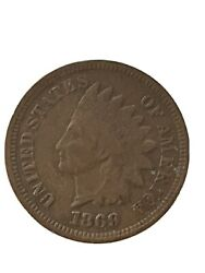 1869 Indian Head Cent Penny Shallow N - Very Good Condition
